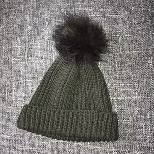 Olive green pom beanie hat